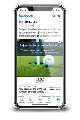 Mobile phone showing the social media feed of IGC London