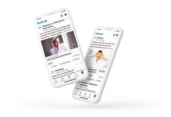 Mobile phones showing two social media posts from KA Beauty