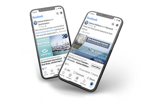 Mobile phones showing the social media feeds of Marine Matters