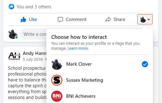 Acting as your Facebook business page - image 4